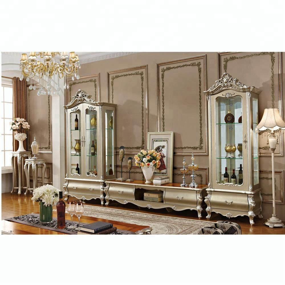 Living room marble top luxury solid wood classic windw cabinets TV stand