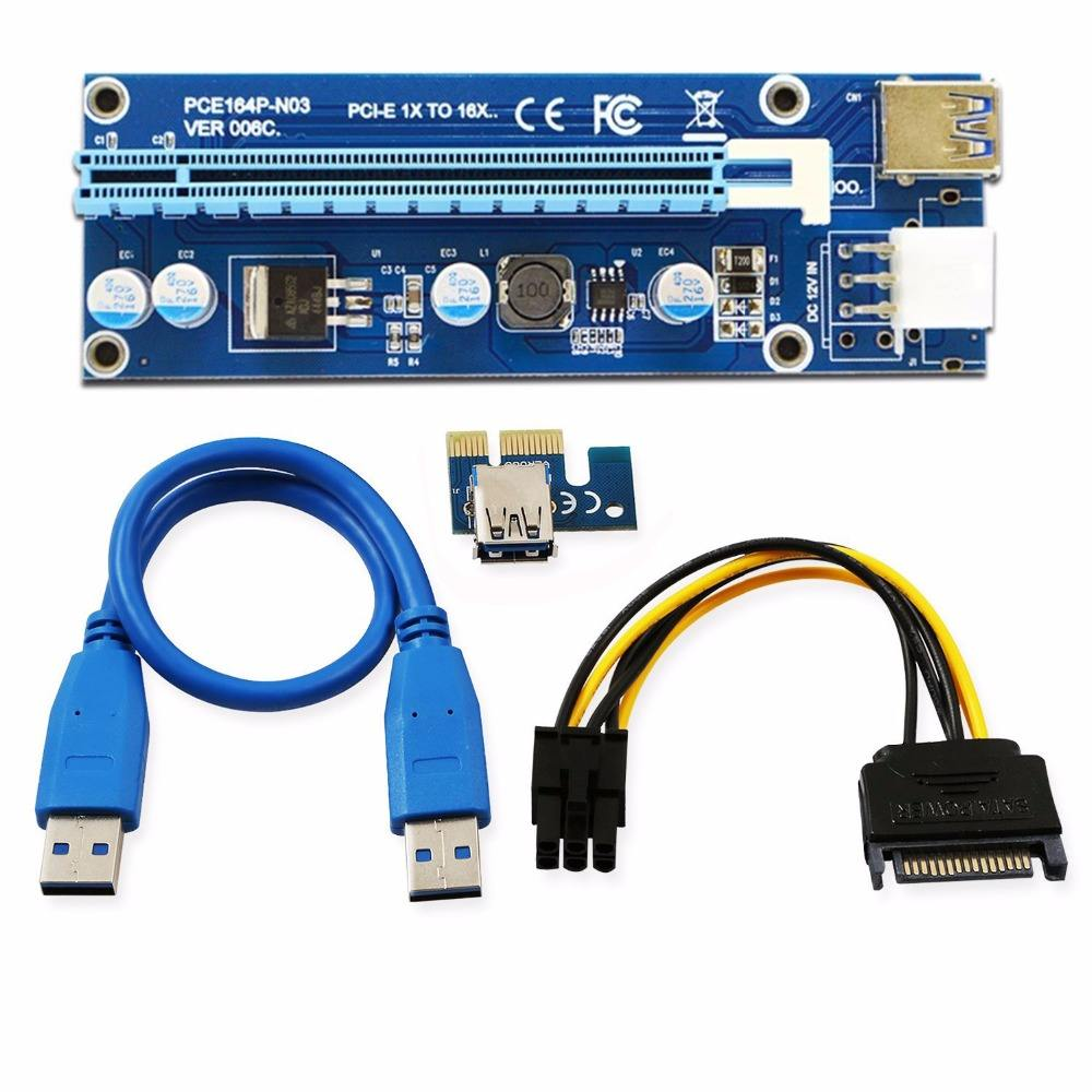 6Pin riser ver 006c PCI-E PCI E Express 1X to 16X Riser Card and USB 3.0 Extender Cable with Power Supply for Bitcoin Mining