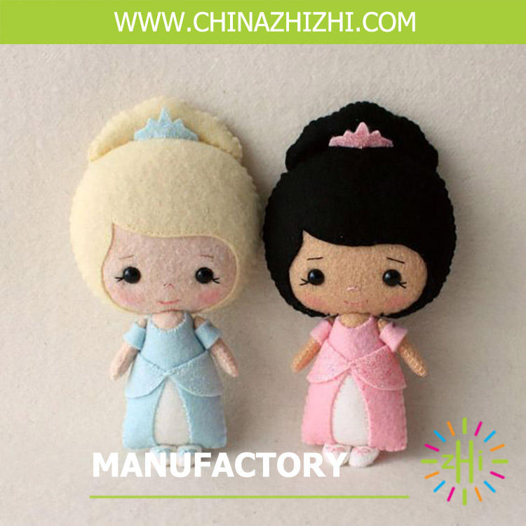 2017 hot sale soft felt Toy Felt Material princess girl doll with cheap price
