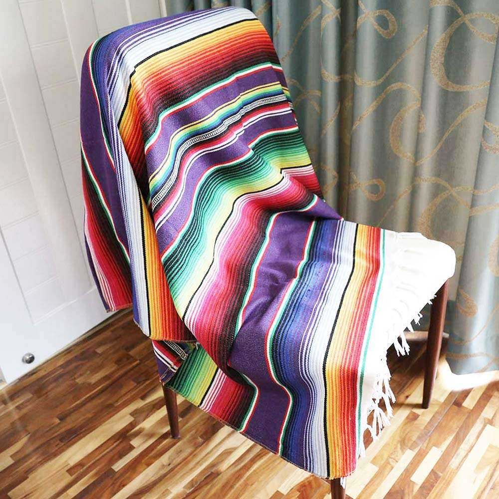 Customized factory sale portable mexican yoga blanket Serape Blanket with Assorted Bright Colors