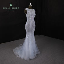 Sparkling bodice sleeveless light blue women robe de mariage mermaid evening gown