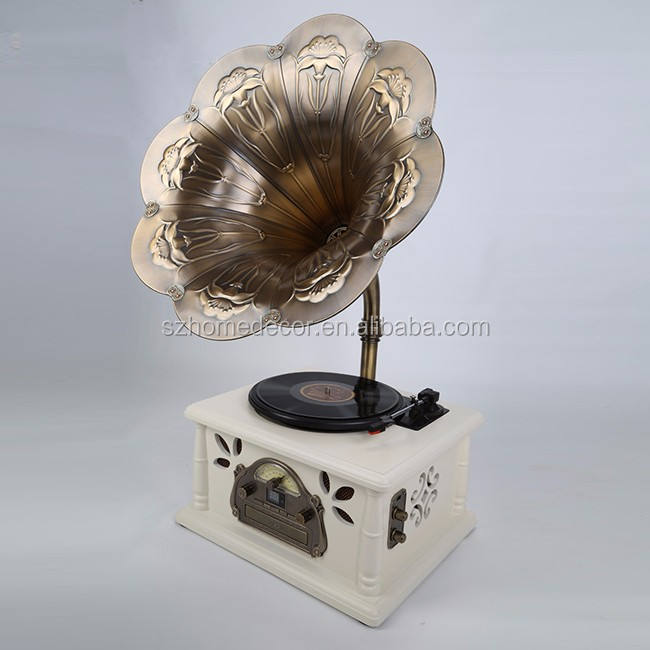 Werbe vintage phonographen mini gramophone mit messing
