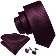 Made In China 100% Fashion Woven Stripe Wine Red Blue Mens Silk Tie Set