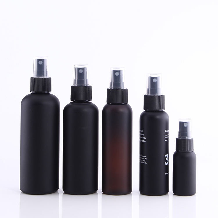 30ml 60ml 100ml150m 200ml 250ml Cosmo Shape Screen Printing Matte Black PET Plastic Spray Bottle in Stock