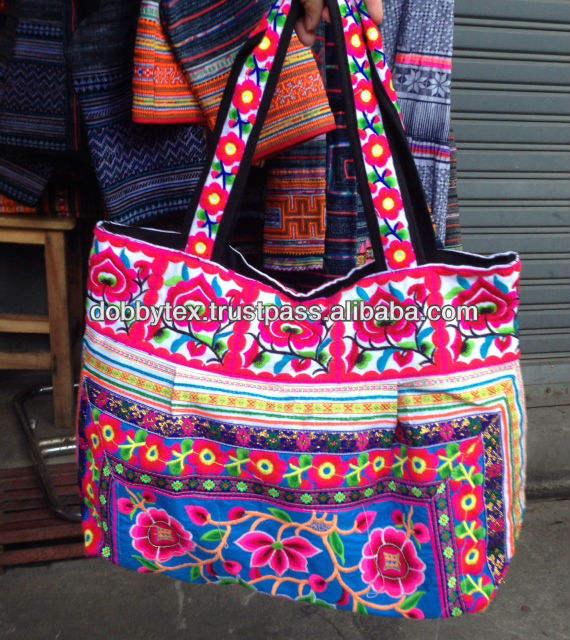 Batik Cross Body Bag Thai Ethnic Hippie Purse Emboidered Lanna Handwoven Hmong