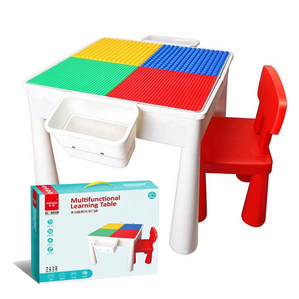 ABS Plastic Multifunctional Playing Desk Building Blocks Kids Study Table With Chairs And Storage Box Children Furniture Sets
