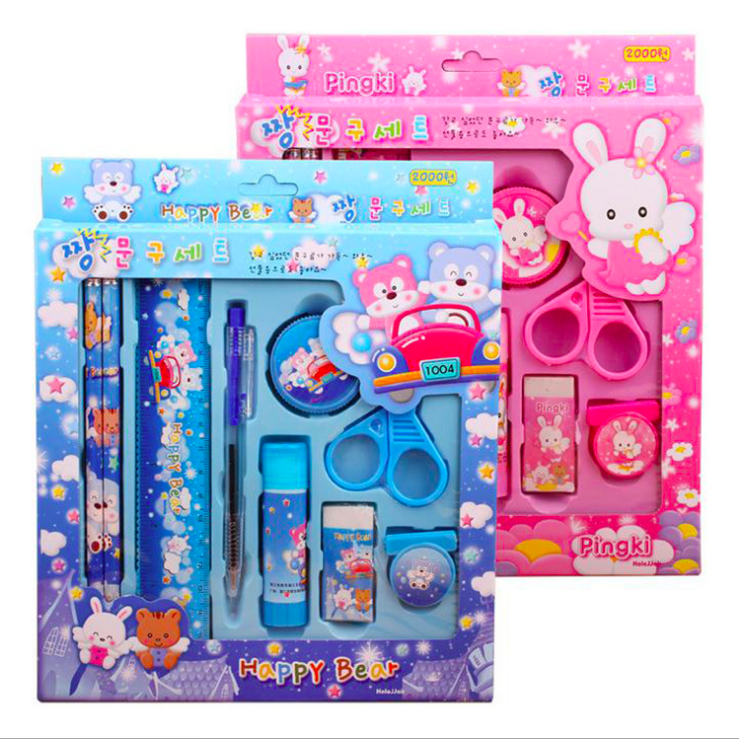 Wholesale Cheap cartoon stationery set school multifunction kids stationery set back to school kawaii school supplies set