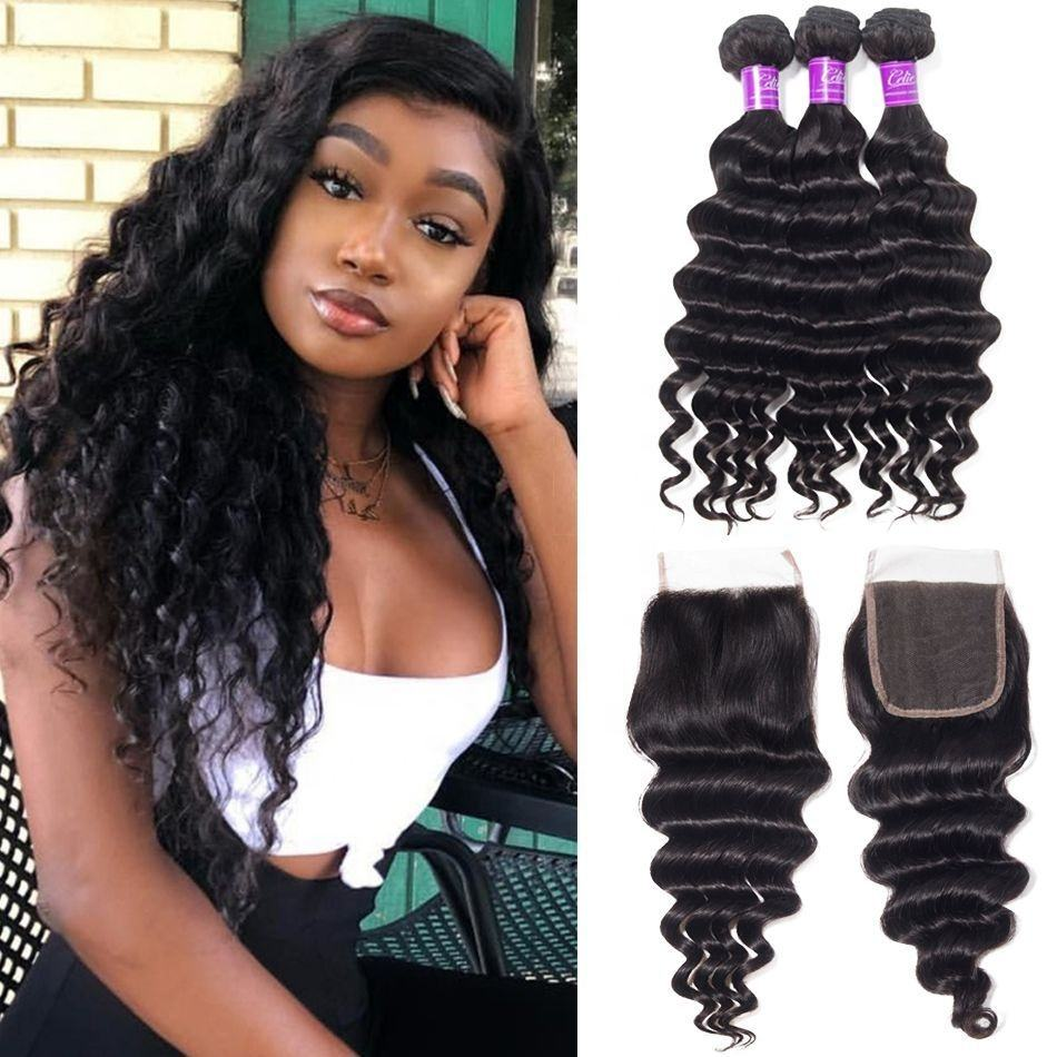 Unice Hair Grade 10A 3 Bundles Curly Loose Deep Wave with 4x4 Lace Frontal Closure Remy Unprocessed Virgin Brazilian Hair