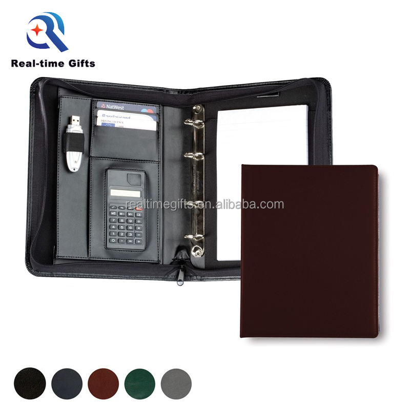 Fashion Business Document Rits A4 PU Leer Manager Padfolio Met Notepad