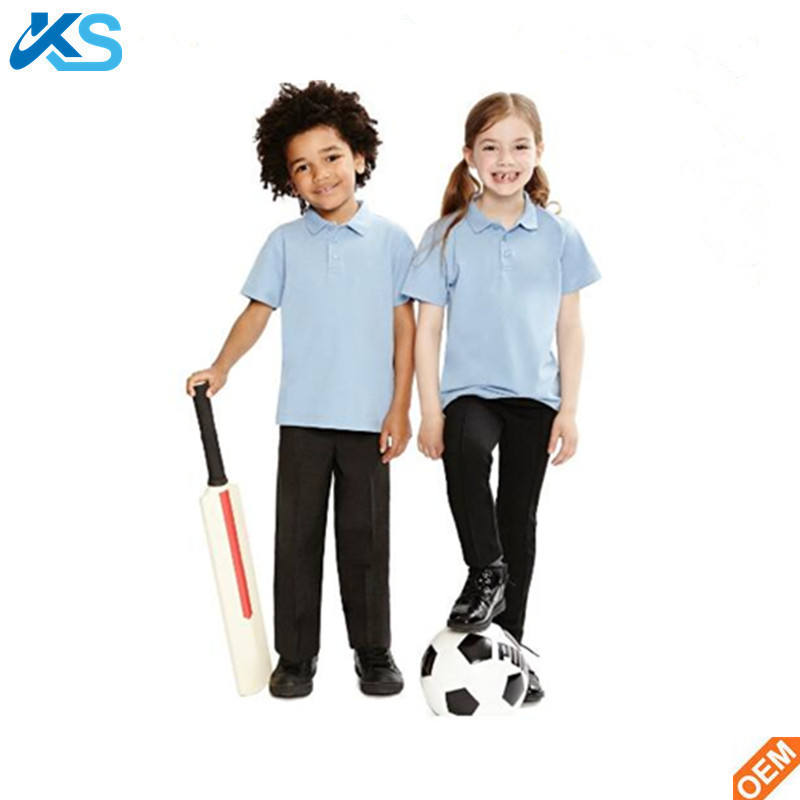 kids 60% cotton 40% polyester school uniform polo shirts