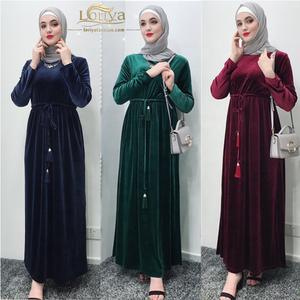 New arrival high quality fashion muslim velvet maix dress abaya long sleeve islamic clothing