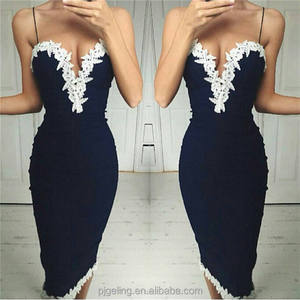 Murah Navy Warna Dekorasi Renda V Neck Slip Bodycon Wanita