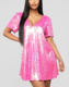 2019 new arrival The Fashion Women Hot Pink Poppin' Sequin Shirt Dress