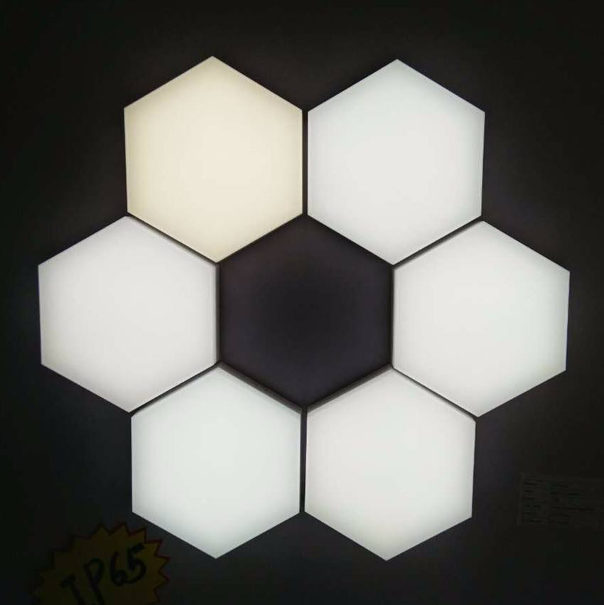 High quality DIY hexagon shape wall mounted puzzle led panel light fire resistant PC 12W best price factory selling