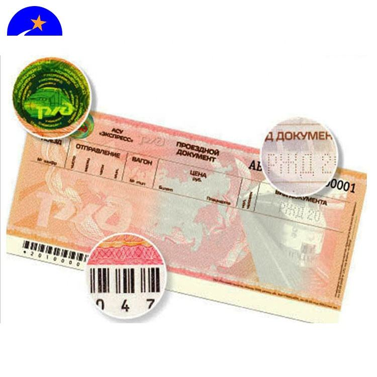 Bond paper hologram watermark paper ticket printing anti-counterfeiting coupon,flight ticket booking