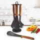 Non-stick 6-piece Classic Nylon Kitchen Utensil Set with 360 Degree Rotating Carousel Stand