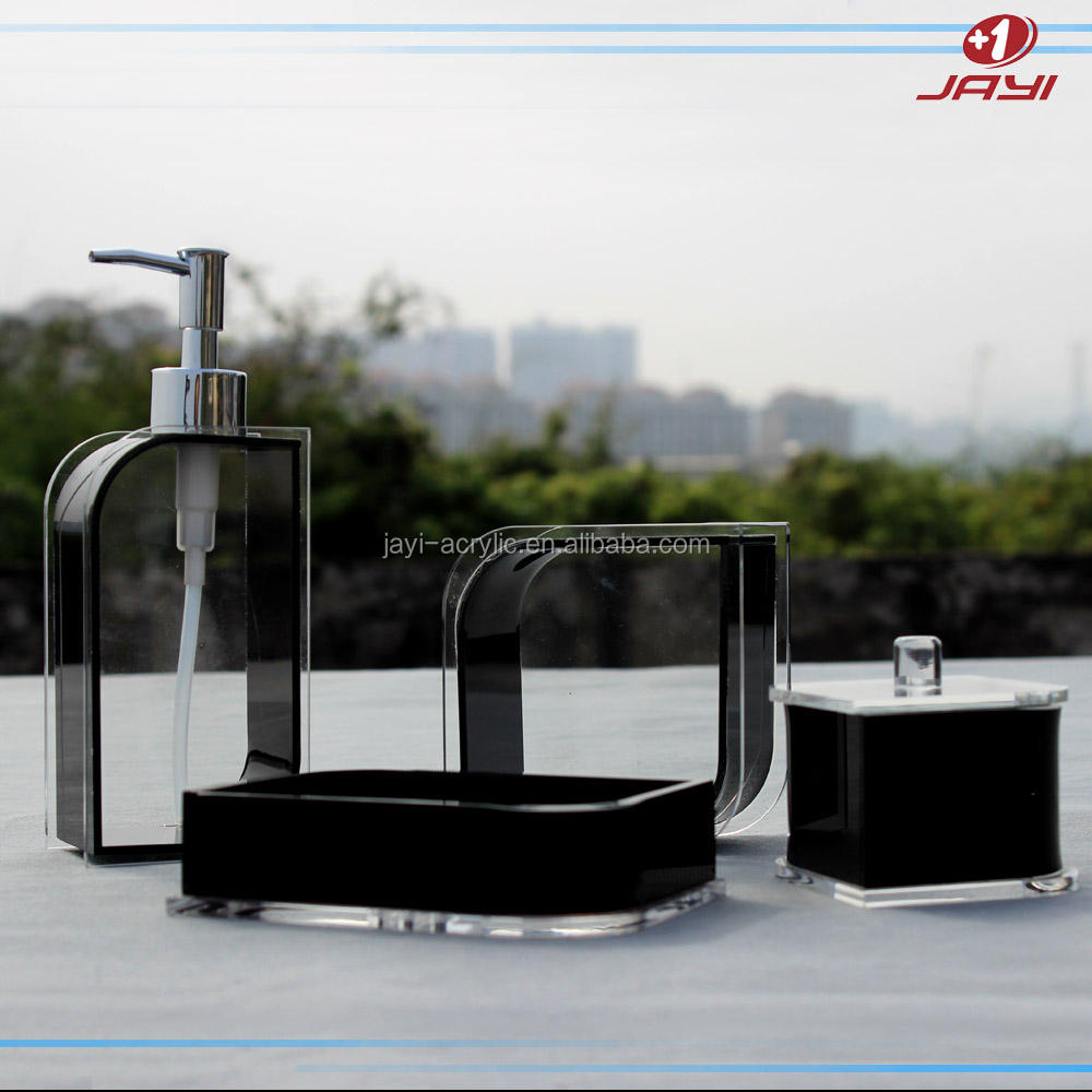 Acrylic elegant clear plastic Acrylic 4 piece bathroom accessories Sets for hotel and home