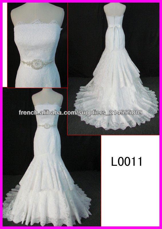 2014 guangzhou échantillon réel sexy filaire sirène mariage robes de mariée/robe en dentelle avec ceinture Swarovski L0011