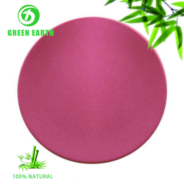 Assorted color eco biodegradable bamboo fiber round side spiral plate plates