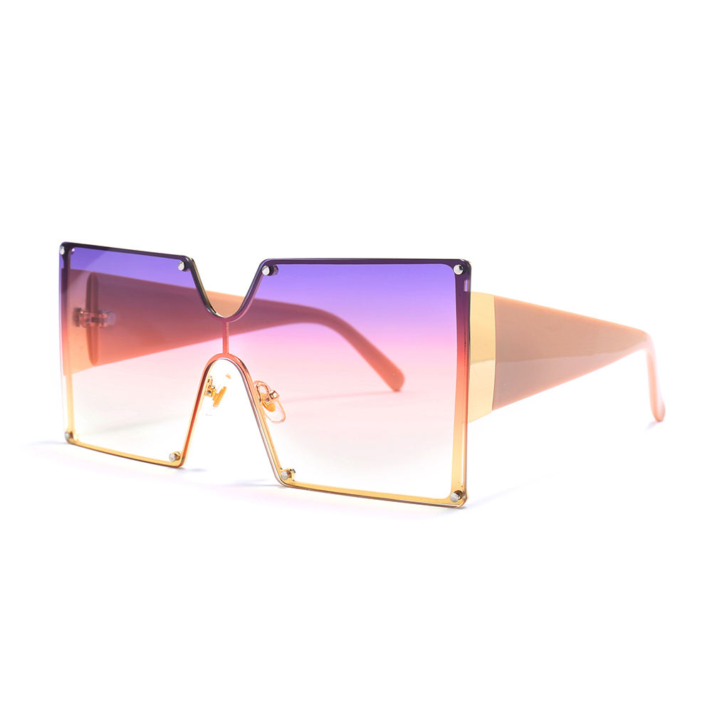 Jheyewear custom 2020 new arrivals trendy fashion square rimless gradient oversized shades women sun glasses sunglasses 2021
