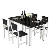 Square white and black modern dining table set