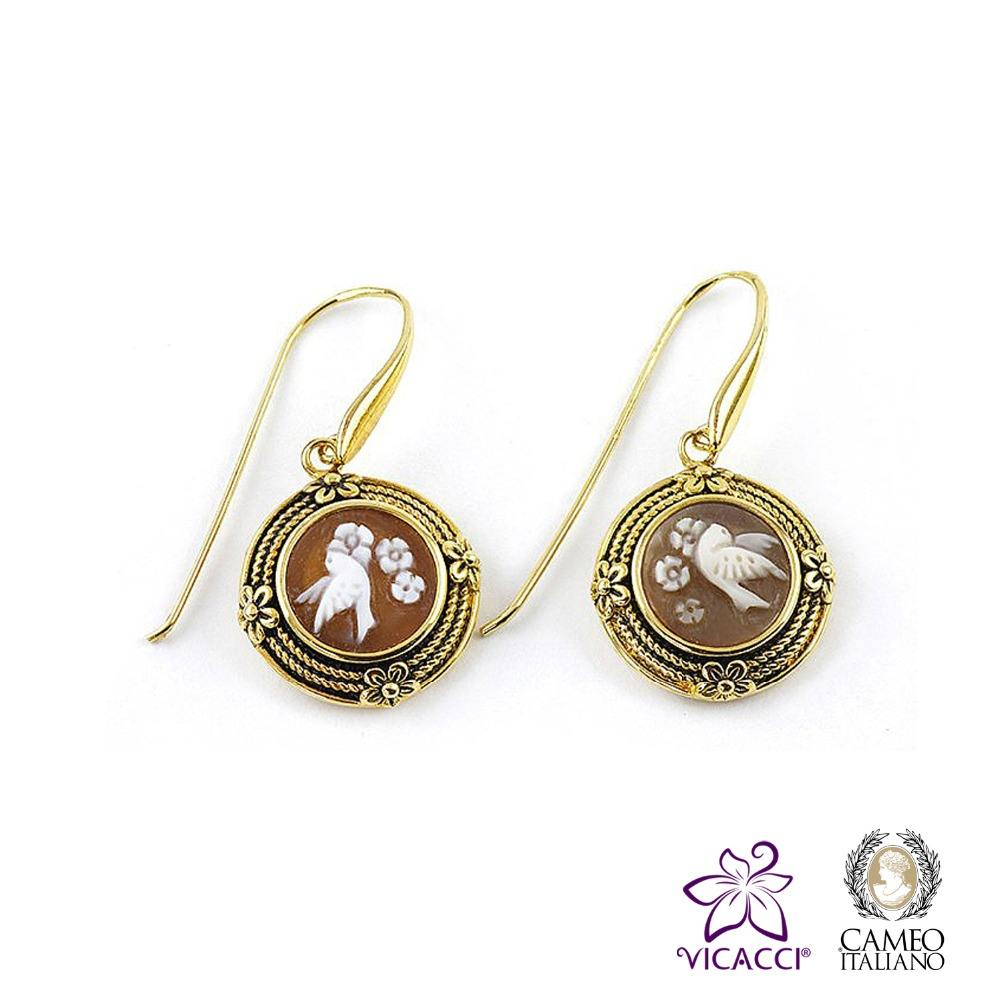 Wholesale Fashion Jewelry 925 Sterling Silver Elegant Fairy And Flower Cameo Earrings Made in Italy O48 cameo 13mm