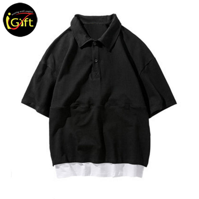 iGift Summer Polo Shirt Men's Embroidered T-Shirt Simple Solid Color Lapel Short Sleeve Male