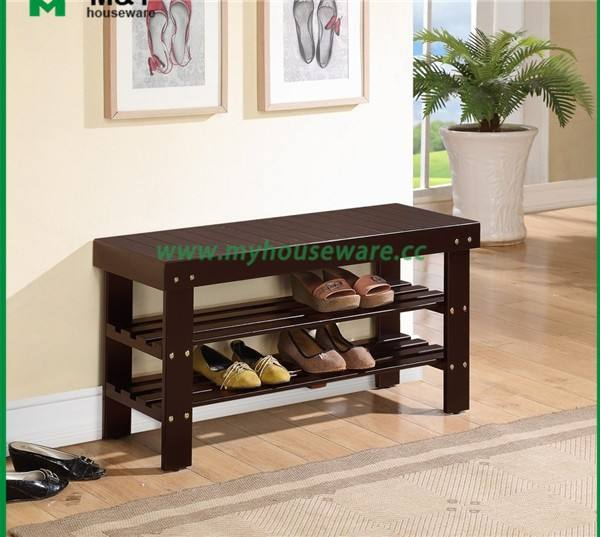 Custom Color Bamboo 2 Tier Shoe Rack And Living Room Bench