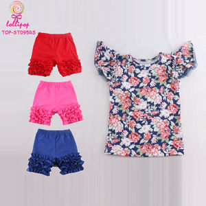 2018 Persnickety Remake Floral Flutter Sleeve Shirt And Ruffle Shorts Set Children Girls Summer Boutique Clothing Outfit