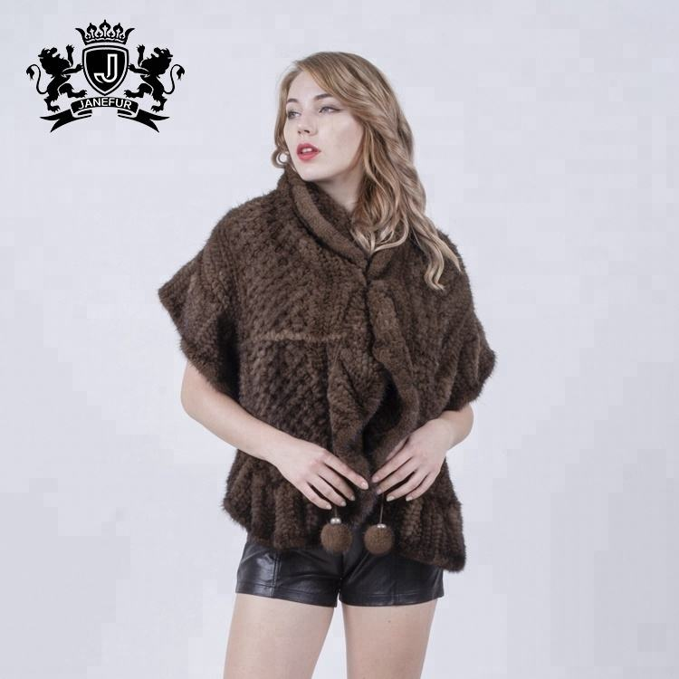 New Arrival Knitted Mink Fur Shawl High Fashion Fur Cape For Women