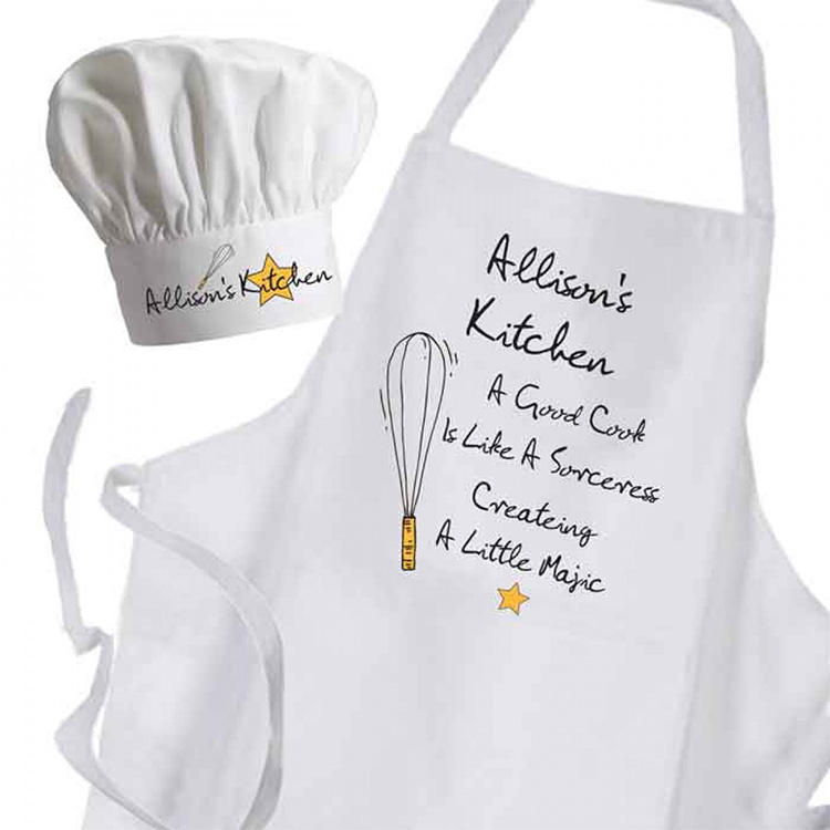 China factory fashion apron set with chef hat