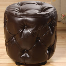 Wholesale dark brown tufted leather pouffe ottoman footstool