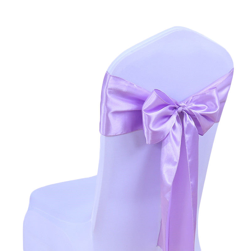 Wedding decoration grey violet polyester satin chair sash