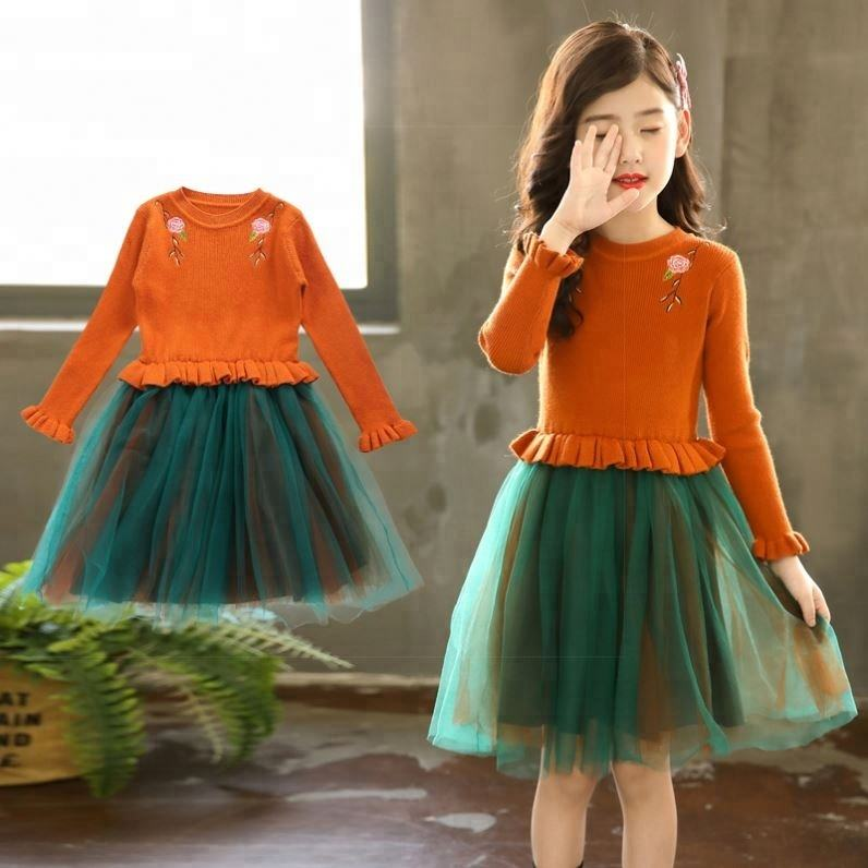2018 Hot Selling Children Clothing Autumn Fall One Piece Long Sleeve kerala girl dress