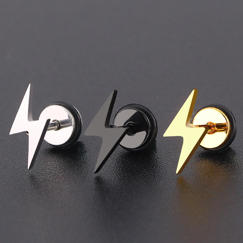 Lightning Mark Earrings Stainless Steel Stud Earrings,Men's Punk Fashionable Costume Jewelry