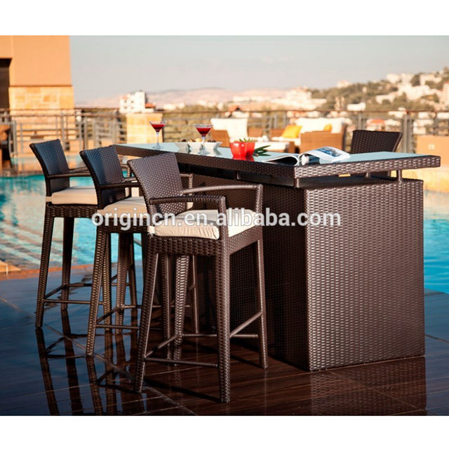 Modern home outdoor roof furniture with wicker storage table and high stool chair kitchen bar counter designs