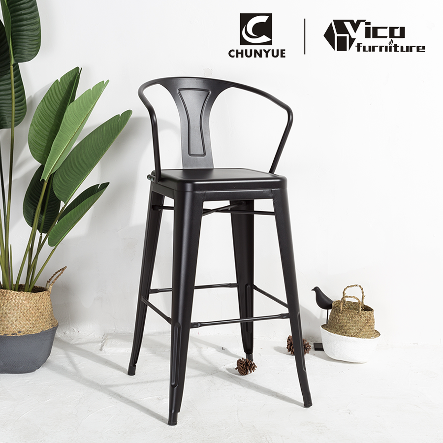 wholesale bistro cafe restaurant metal iron vintage industrial bar chair with armrest for bar
