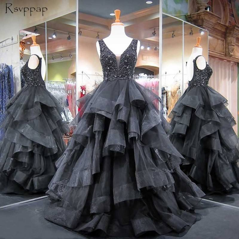 decent gothic style bling bodice tiered skirt couture black ball gown evening dresses for matured women