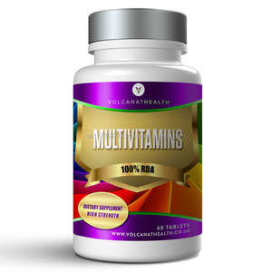 Multivitamine Tabletten Dietary Supplement Pills Volcanat Health Premium Runde Flasche