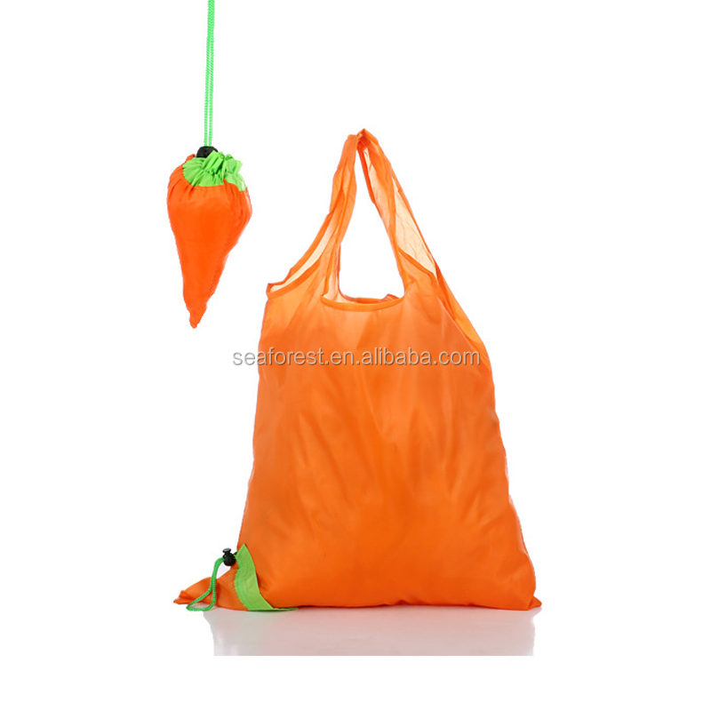 custom logo printed 190T polyester orange carrot shaped foldable shopping bag for promotion