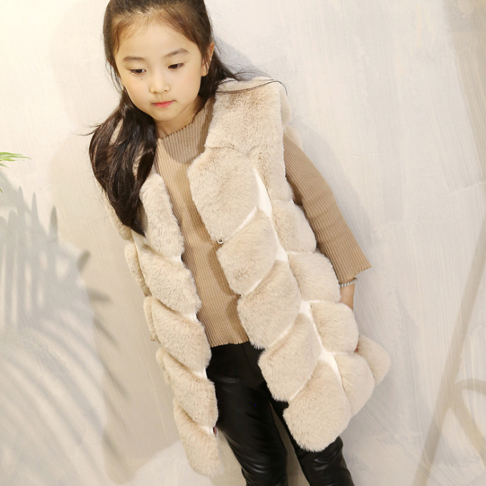 YY10235G Fancy design leather stitching elegant girls fur vest top fashion fur waistcoat