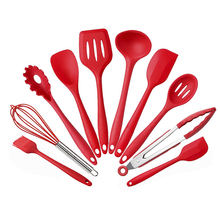 Wholesale Red 10 Piece Kitchenware Baking Cooking Tools Silicone Cookware Utensils Set
