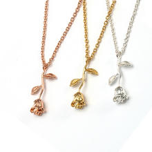 Beautiful Woman Fashionable Personality Jewelry Gold Plated Rose Shape Pendant Necklace
