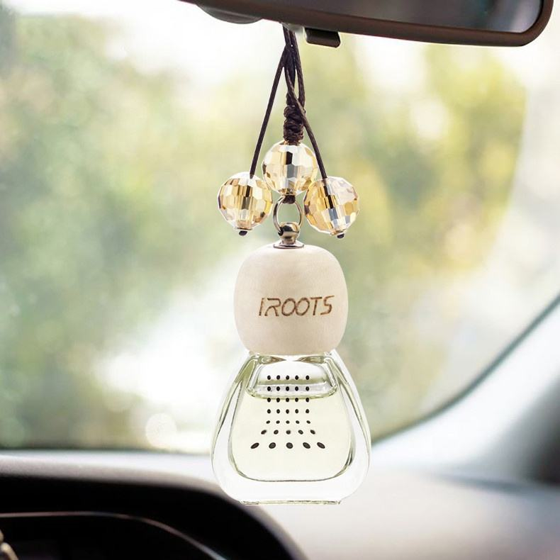 Natural Luxury Fragance 8-10ml Hanging Glass Bottle Car Air Freshener Perfume With Maple Lid