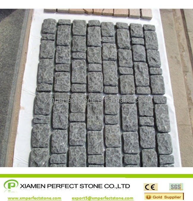 tumbled black granite G684 black pearl granite pavement