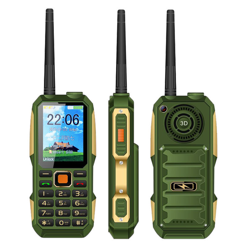 2.4 Inch Dual SIM Card UNIWA W007 Quad Band 4000mah Big batterie GSM Mobile Phone With UHF Walkie Talkie