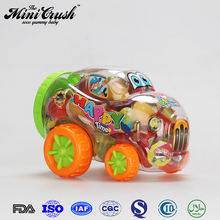 100pcs assorted fruit lollipop gummy candy in mini car toys jar chinese wholesale candy supplier