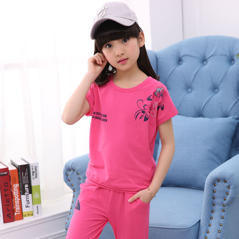 Kids summer printed cotton girls short casual sport clothing family t shirt clothing set