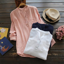 Spring Women Oversized V Neck Long Sleeve Loose 100% Cotton Tops Party Shirt Casual Vintage Work OL Blouse ED038