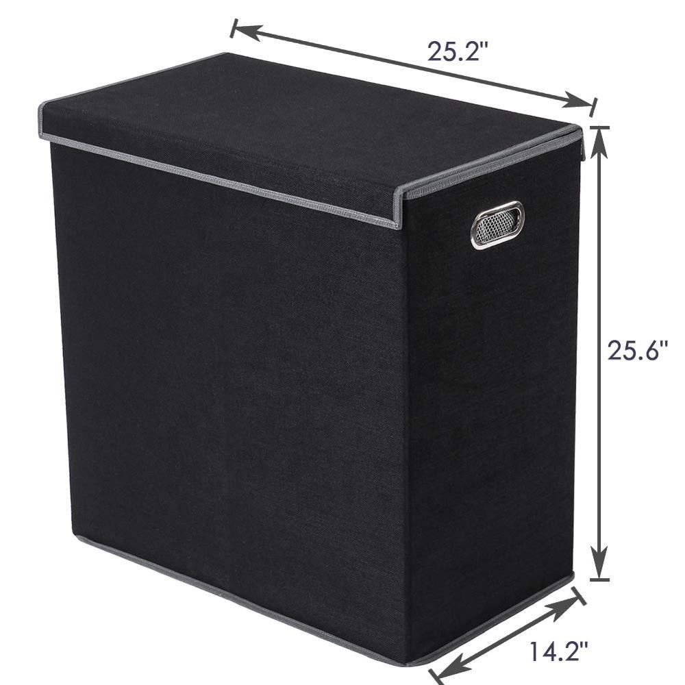 Homes Use Linen Durable Double Layer With Cover Metal Handle Black Laundry Basket